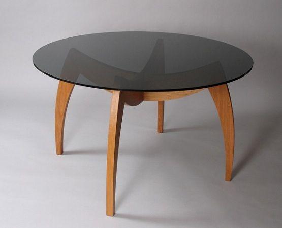 Custom round glass dining room table