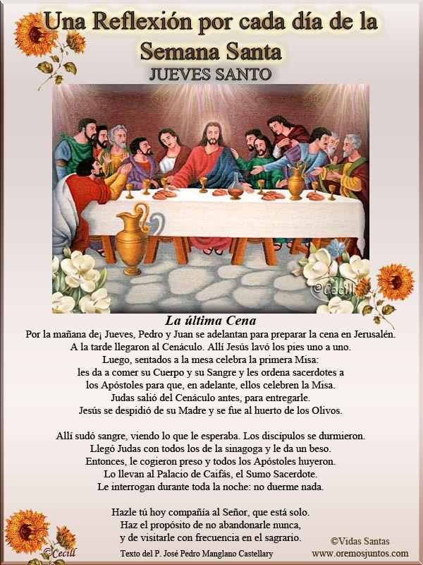 Vidas Santas: Una Reflexión por cada día de la Semana Santa JUEVES SANTO