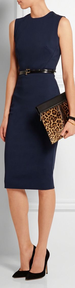 Classic sheath with a touch of leopard.  Finish with a blazer.