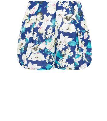 Madam Rage Blue Lily Print Shorts