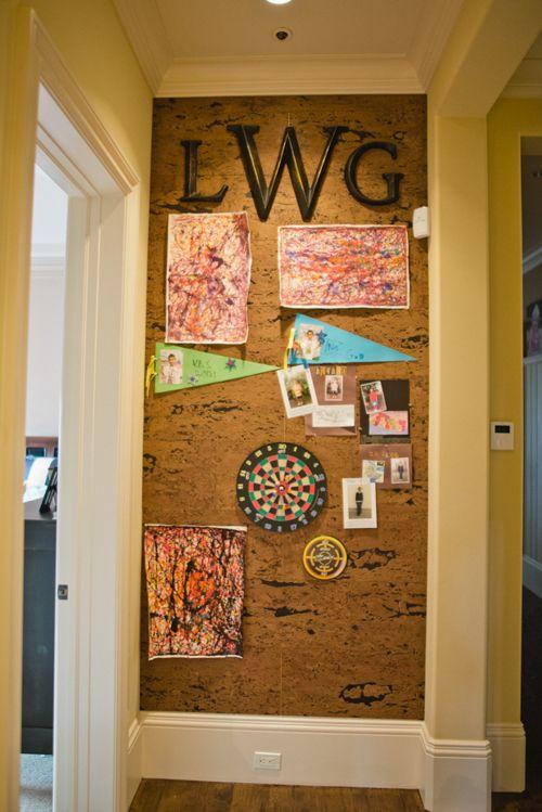 Art display with cork // via Living With Kids: Karin Katherine