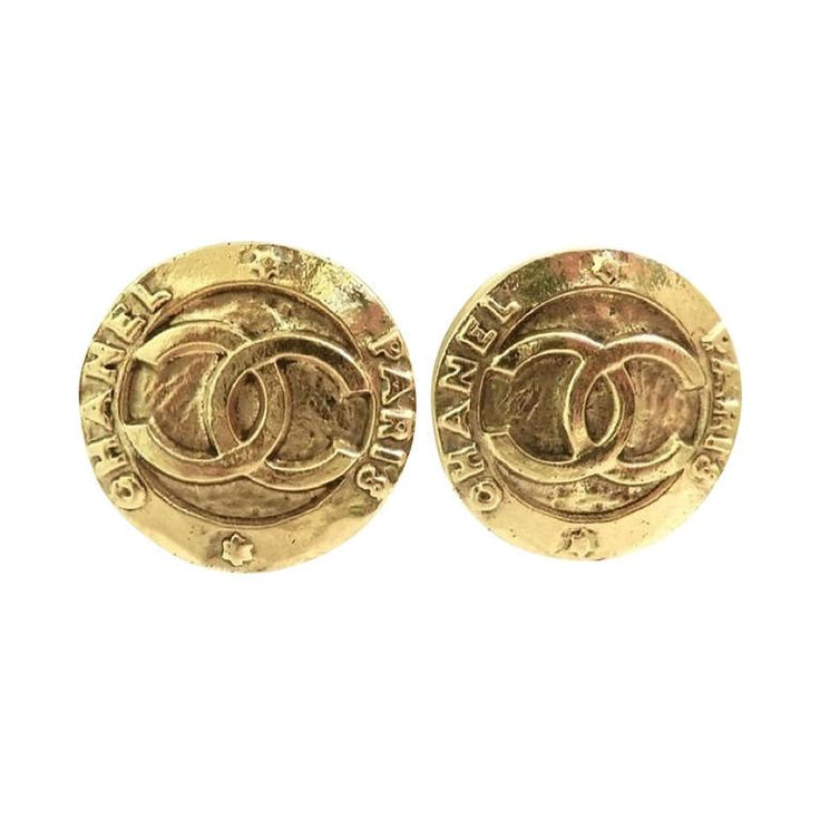 Vintage Signed Chanel Logo Earrings | From a unique collection of vintage clip-on earrings at https://www.1stdibs.com/jewelry/earrings/clip-on-earrings/