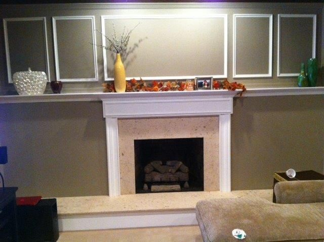 american hearth vent free gas log with limestone surround and hearth with custom mantle and wall