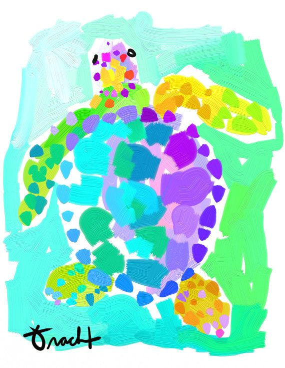 Art Print 16x20 Blue Green Aqua Sea Turtle by Kelly Tracht, Lilly Pulitzer Style Painting Palm Beach Regency on Etsy, $75.00