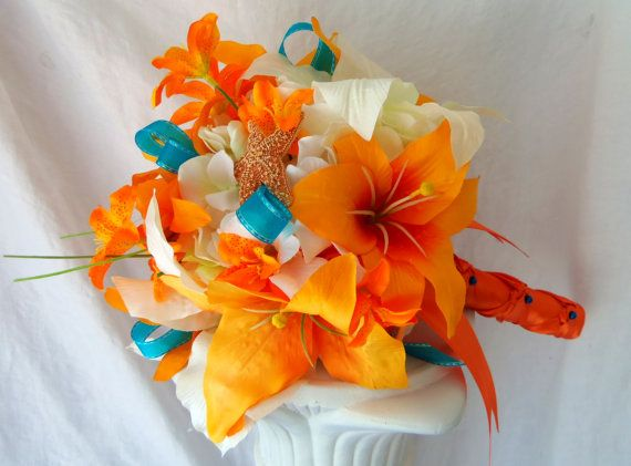 Tiger Lily Wedding Bouquet- Starfish Wedding Bouquet- Tangerine, Orange, Teal, Ivory, Beach Wedding Bouquet- Made to Order