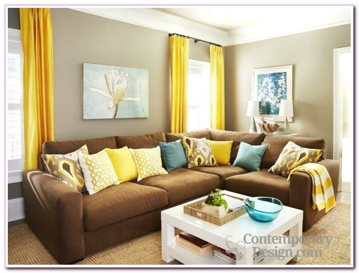 Dashing Modern Brown Sofas Furniture Yellow Cushion Warm Color Design Completed With Glas Brown Living Room Decor Brown Living Room Brown Furniture Living Room