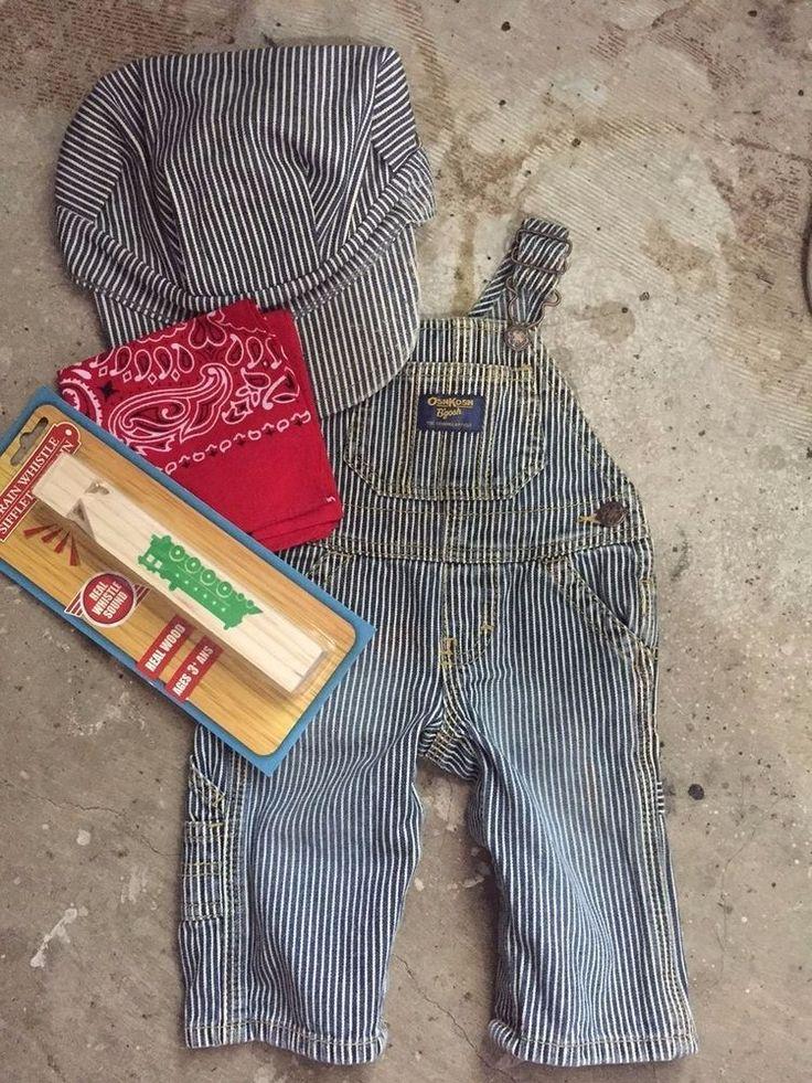 TRAIN conductor ENGINEER railroad HALLOWEEN costume w/PROPS bandana whistle cap…