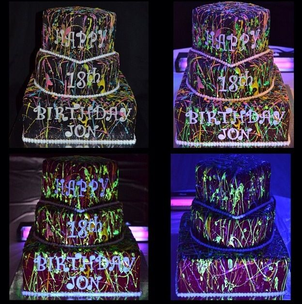 Glow In The Dark Cake Custom Cakes 17th Birthday Party