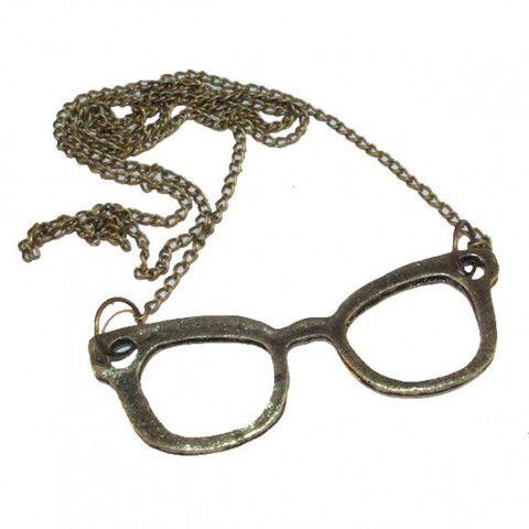 Bronze Tone Iconic Glasses Pendant