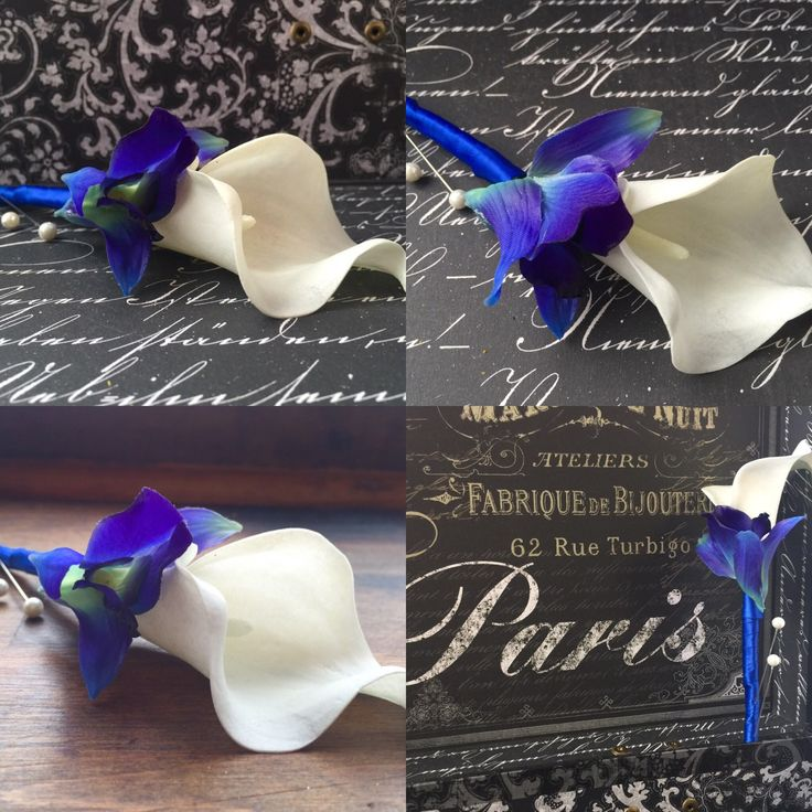 Blue White Boutonniere, Real Touch Sonia Blue Orchid & White Calla Lily Boutonniere, grooms flower, grooms boutonniere, mens flower