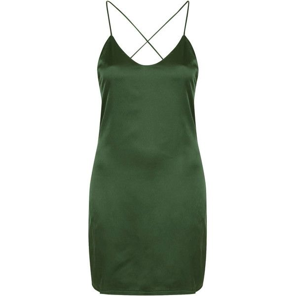 **Salina - Green Satin Slip Dress by Goldie ($64) ❤ liked on Polyvore featuring dresses, green, green day dress, criss cross back dress, cross back dress, strap dress and slip dress