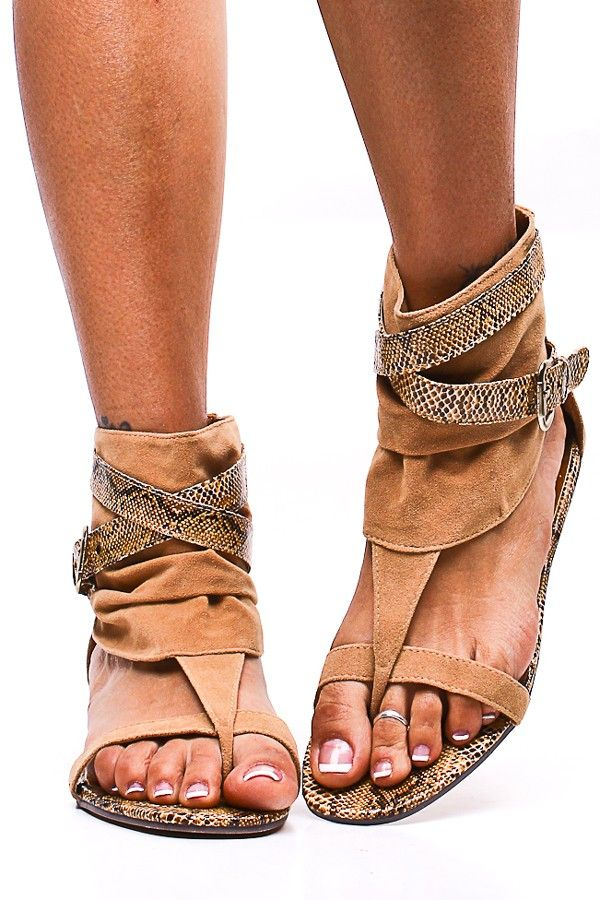 TAN SUEDE SNAKE ANKLE WRAP SANDALS // I don't usually like these types of sandals but something about these is pretty cool.