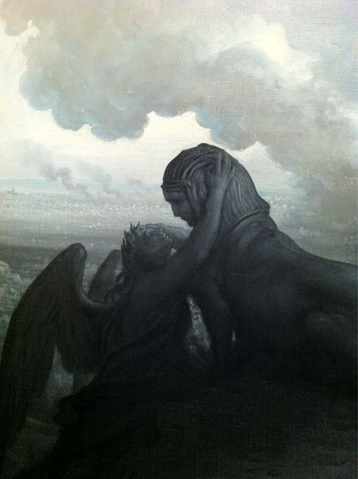 The Enigma - Gustave Dore '…stands a sphinx overlooking the scene. Under the dark sky, a winged woman is in tears and questions the sphinx in vain for an explanation of te chaos and horrors of war, but the sphinx remains silent.'