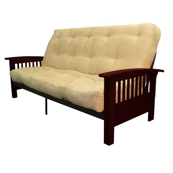 Stickley 8-Inch Cotton/Foam Futon Sofa Sleeper - Mahogany Wood Finish - Sand (Brown) - Queen Size - Sit N Sleep