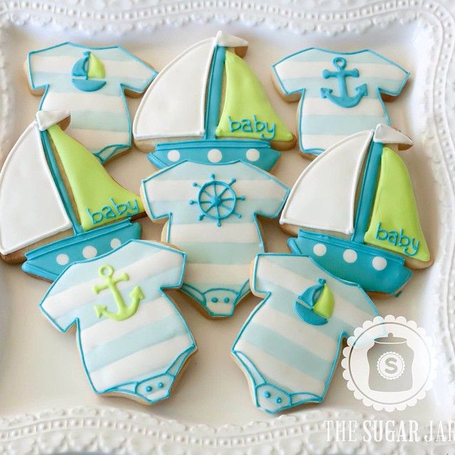 "155 Likes, 6 Comments - The Sugar Jar (@thesugarjar1) on Instagram: ""Nautical baby #decoratedcookies #decoratedsugarcookies #sugarcookies #cookies #customcookies #baby"""