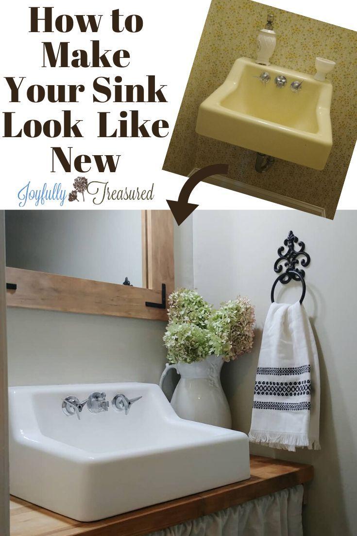 How To Paint The Bathroom Sink 100 Room Challenge Week 2 Joyfully Treasured Diy Bathroom Makeover Diy On A Budget Diy Home Decor Projects [ 1102 x 735 Pixel ]