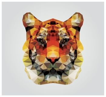 Geometric polygon tiger head triangle pattern design vector illustration