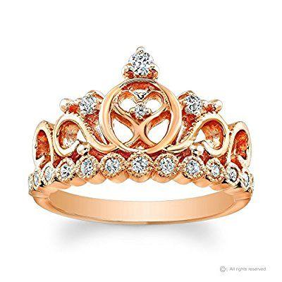 Princess Tiara Heart Ring in 14K Rose Gold with CZ