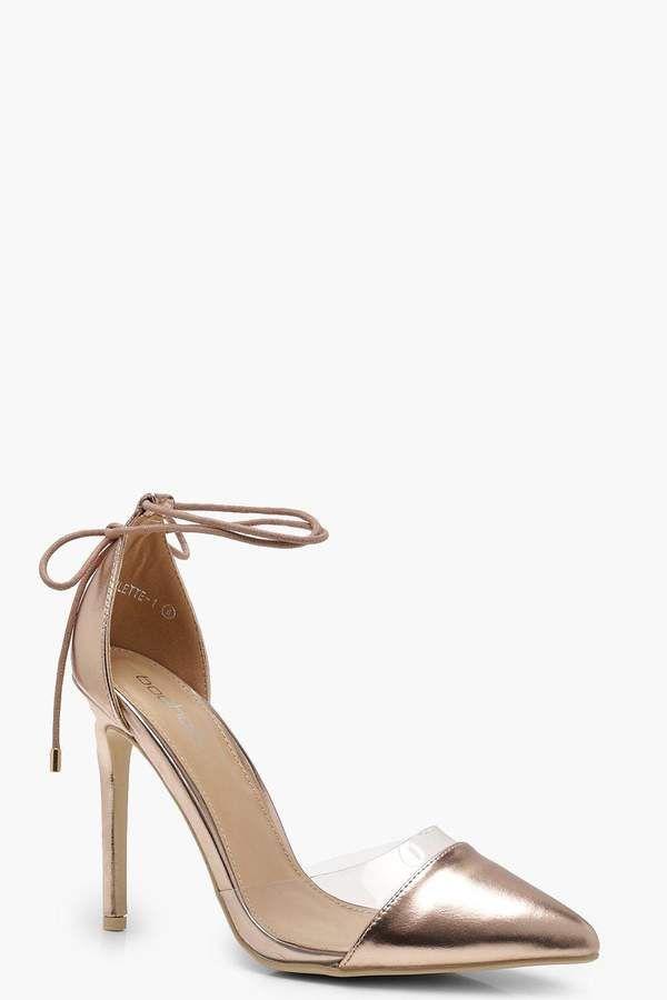 77285270652 boohoo Erin Pointed Toe Clear Wrap Strap Heels