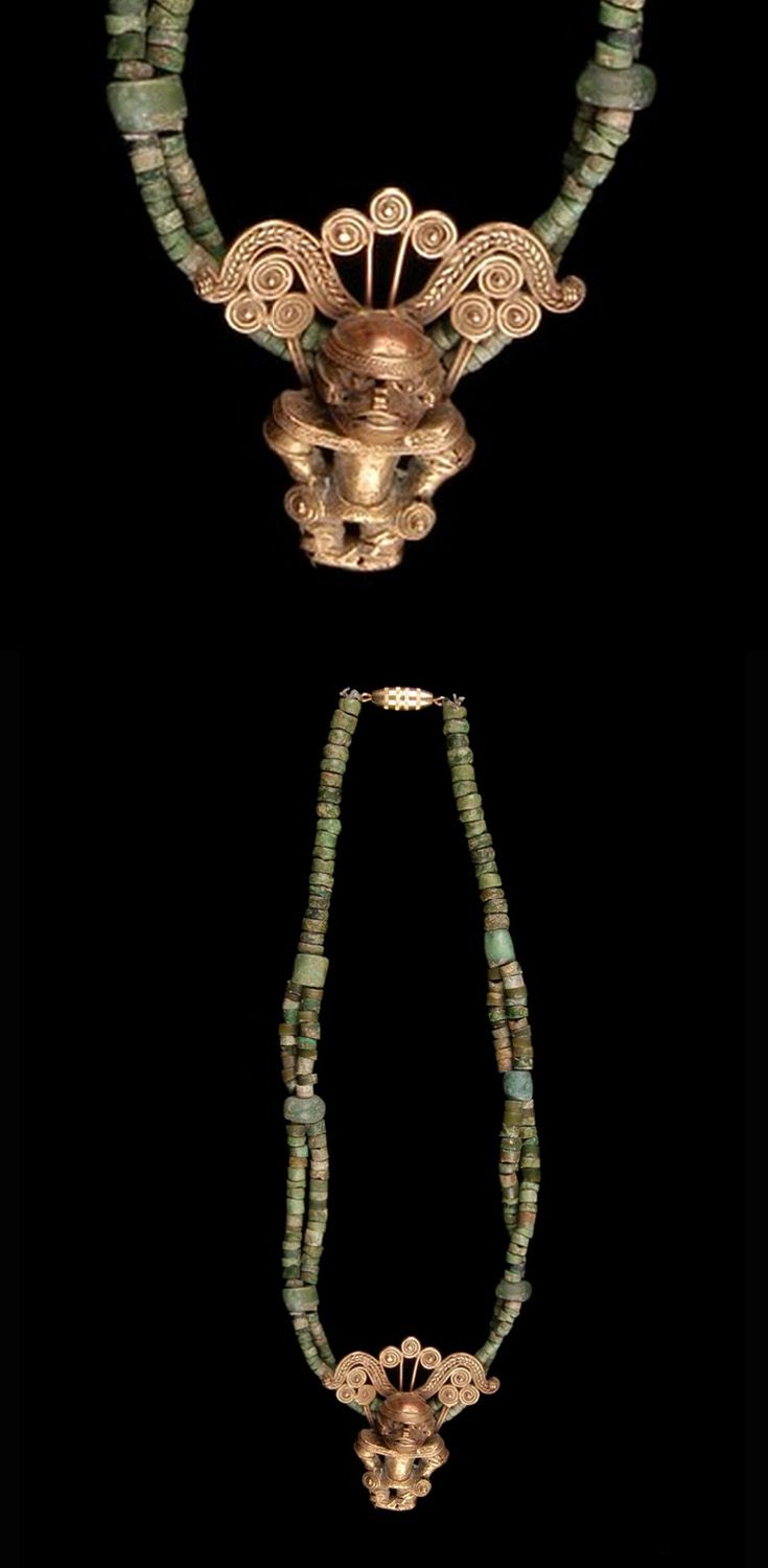 Colombia | Necklace from the Tairona culture (with Sinu style pendant); gold, green hardstone | ca. 300 - 1600 AD || This has probably been recently restrung, using the old elements
