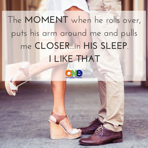 When our arms find each other in the middle of the night or as we are falling asleep it's AWESOME.