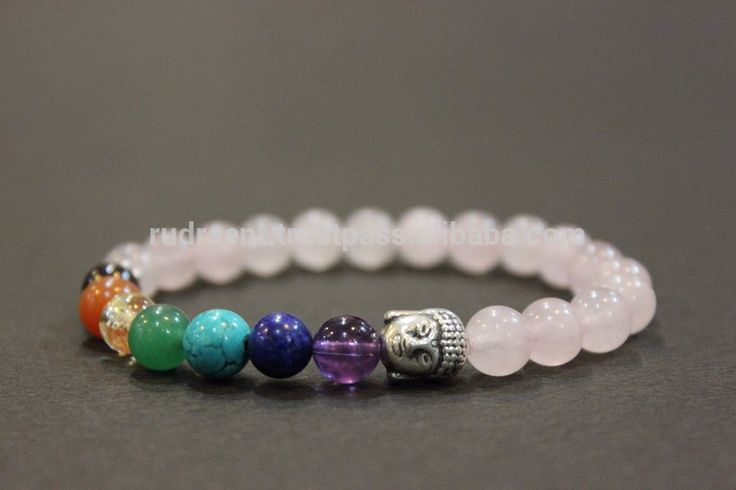 Rose Quartz, Chakra Bracelet, Gemstone Yoga Mala Bracelet,8 mm Beaded Bracelet