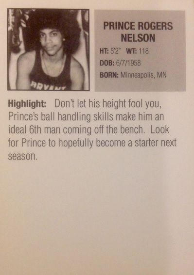Prince Basketball Rookie Card: Don't let his height fool you...no truer words spoken