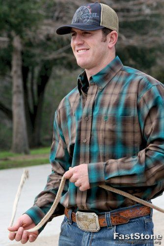 Cinch western shirt mens l s plaid button xl brown teal for Mens shirts with snaps instead of buttons