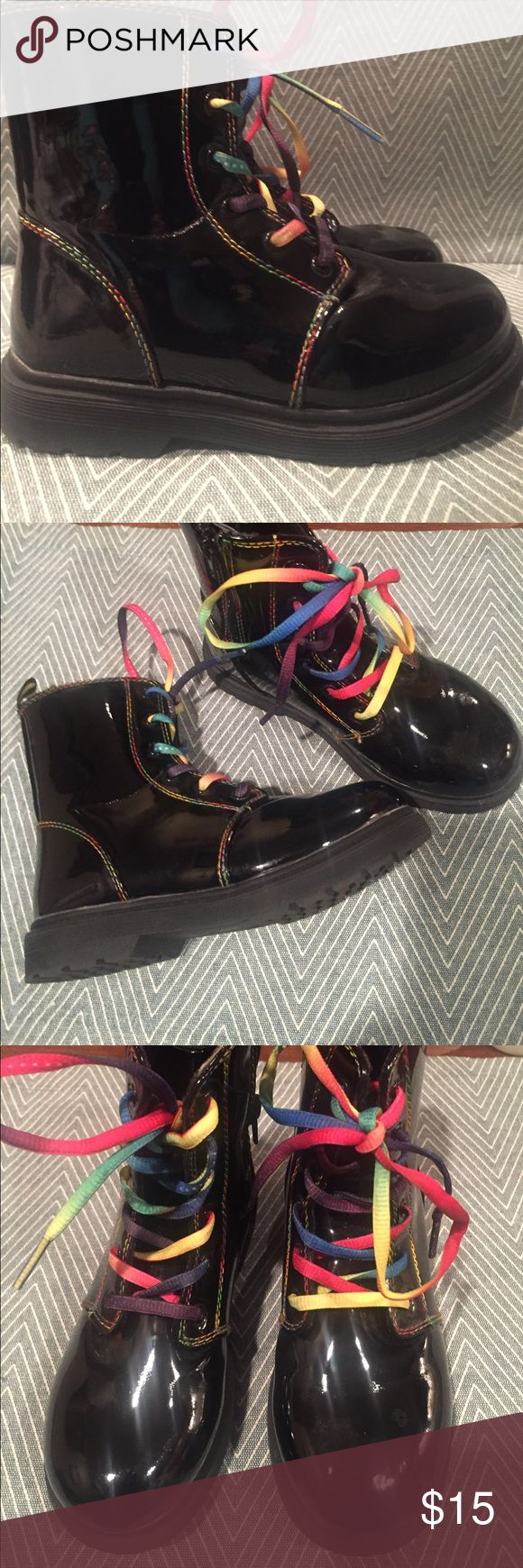 Zodiac Girls Patent leather side zipper ankle boots gently used Shoes Rain & Snow Boots