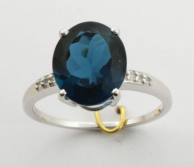 LONDON BLUE TOPAZ 6.65 CARAT  WHITE TOPAZ GEMSTONE RING IN 925 STERLING SILVER