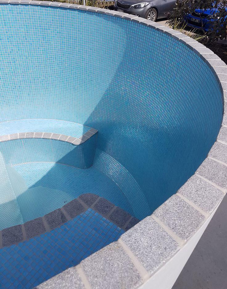 Blue Pearl glass mosaic tile