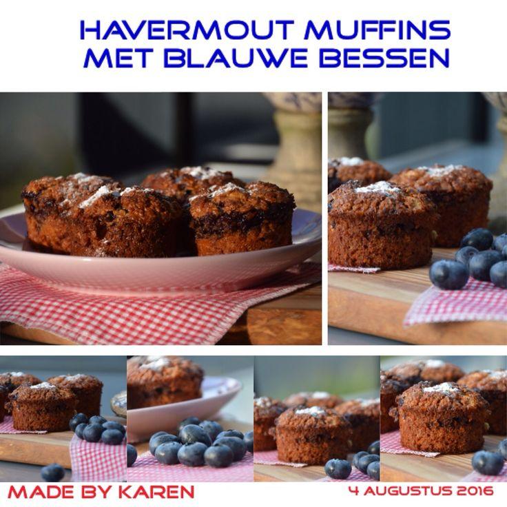 Havermout muffins met blauwe bessen volgens recept uit Paulines keuken. Geen suiker toegevoegd, maar wel honing.. Mmmm.