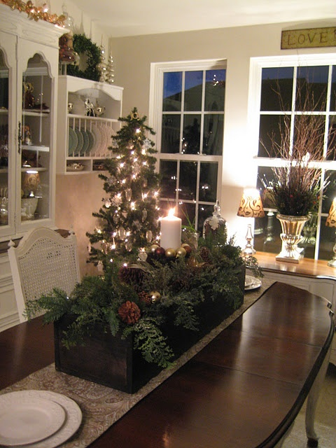 great box with greens and pinecones, add christmas tree ornaments.....love this table