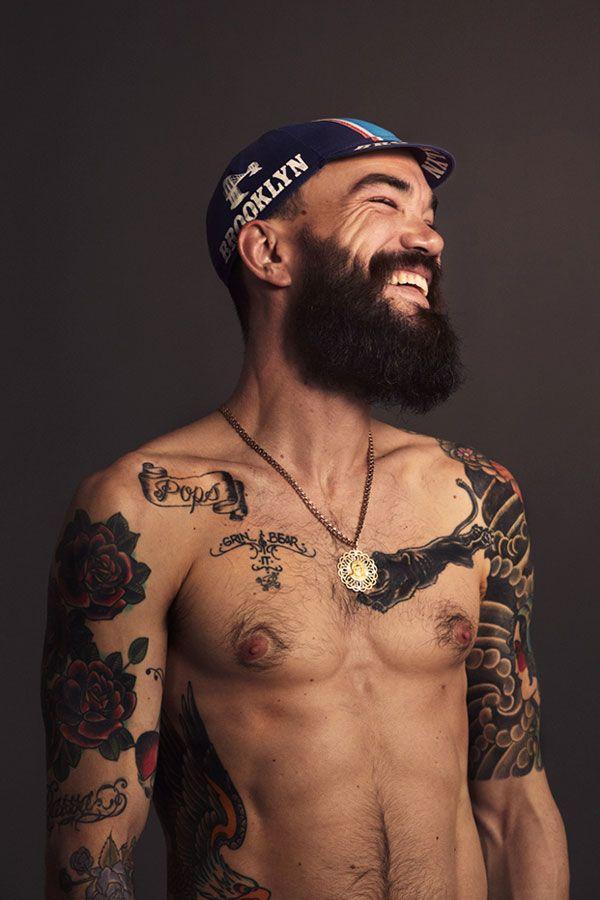 The Tattooed Cyclist | Tattoo | Beard tattoo, Tattoos, Old ...