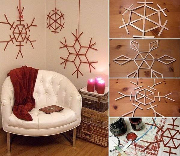 Popsicle stick snowflake wall decor 15 best diy ideas to winterize your home for christmas
