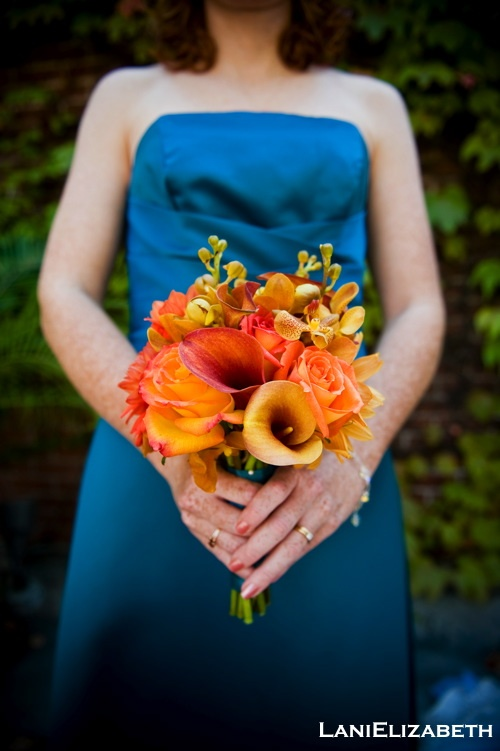 Orange Bridesmaid Bouquet To Go With Our San Jose Sharks Themed Wedding