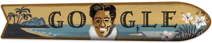 Google gives Duke Kahanamoku, 'father of modern surfing,' a swell of popularity | Google Doodle 08/24/2015