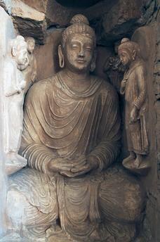 Statue of Buddha, ruins of the Jaulian monastery, Taxila (UNESCO World Heritage List, 1980), 5th century BC.