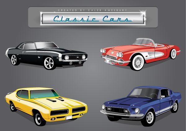 Car Vector Pack Of Classic American Cars Car Vector Classic Cars Ford Classic Cars