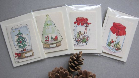 Christmas cards Set of Tofrom Hand made cards original by Fahfield, kr20.00