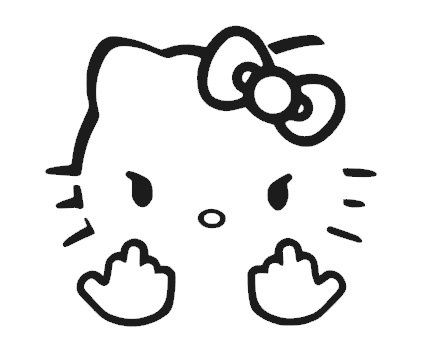 Hello Kitty Double Middle Vinyl Sticker Decal - 5''x4'' - Black