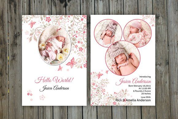 Birth Announcement Template CB001 @graphicsmag Card Templates - announcement template free