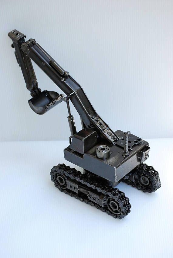 Modelo de retroexcavadora Tractor cargadora escultura en Metal