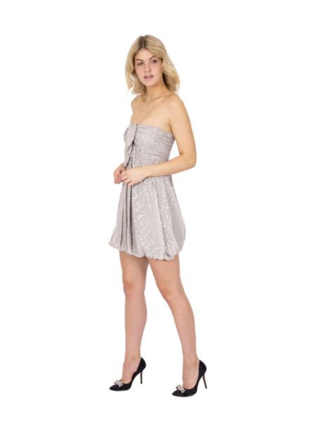 305dd7e99eb3c Our Closet Jay Ahr Grey and Silver Strapless Mini Bubble Dress ...