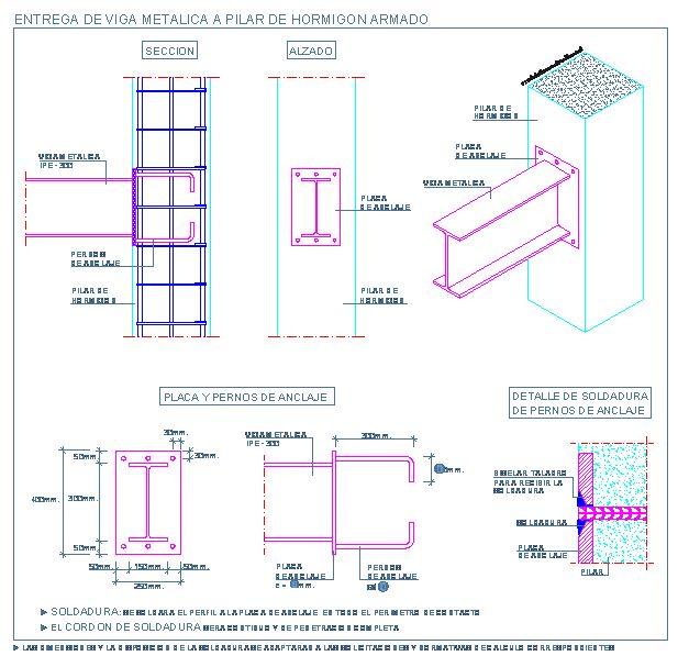 Entrega de viga metalica a pilar de hormigón armado | detallesconstructivos.net
