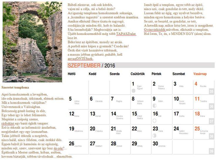 NAPtár tizedik oldal  Saját verseimből szerkesztett NAPtár a 216-os évre sok SZERetettel. :)