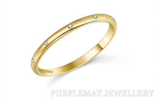 Simple Diamond Band 18K Yellow Gold  6pcs  diamond