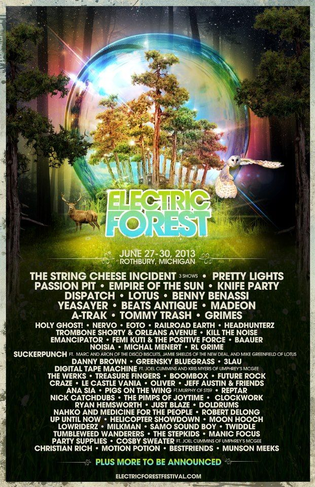 2013 #Electric Forest #lineup