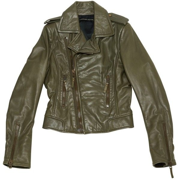 Pre-owned Balenciaga Leather Jacket ($869) ❤ liked on Polyvore featuring outerwear, jackets, khaki, khaki jacket, balenciaga jacket, 100 leather jacket, khaki leather jacket and real leather jackets
