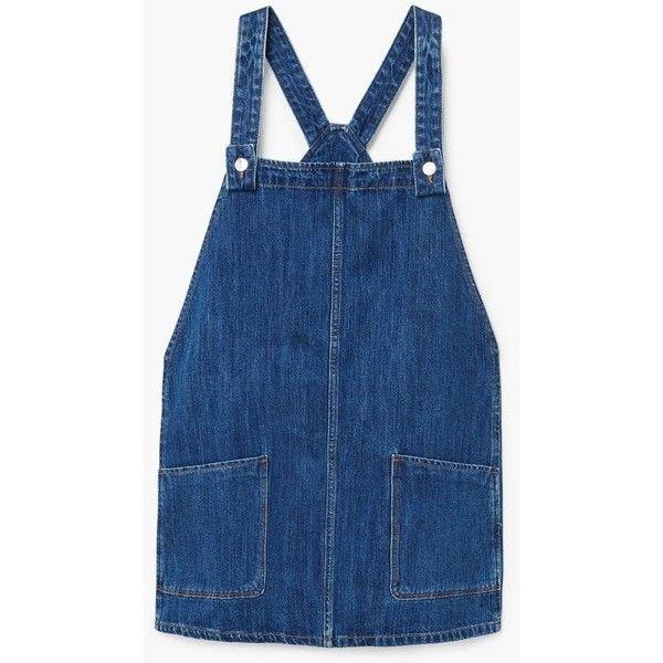 MANGO Pocket denim pinafore dress (3.395 RUB) ❤ liked on Polyvore featuring dresses, mango dresses, blue dresses, blue denim dress, strap dress and button dress